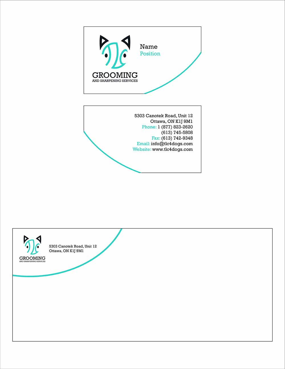 New business card and envelope design for TLC